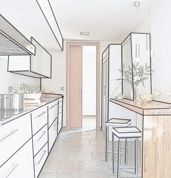 Muebles de cocina disenove aprovechar el espacio en for Distribucion cocina alargada